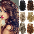 1Set Curly Hair Extension 50cm 20inch 7pcs/set Wavy Natural Hairpiece Heat Resistant Women Synthetic Clip In Hair Extensions 999