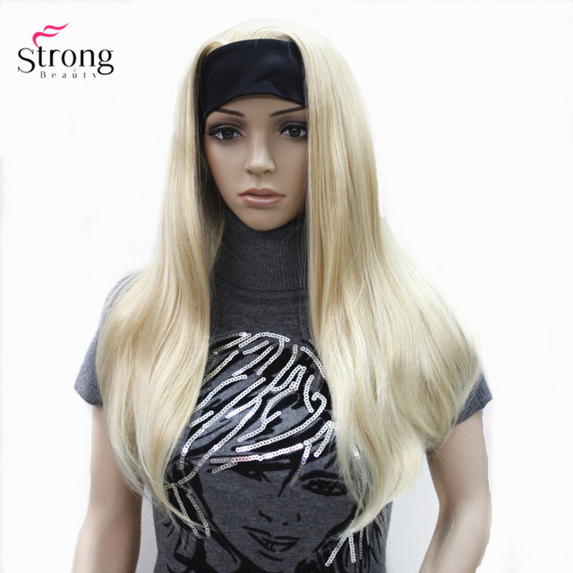 StrongBeauty Headband wigs Women Synthetic Capless Long Straight Hair Blonde/Black Natural Wigs