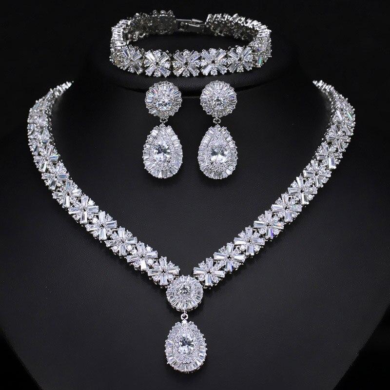 ANGELCZ magnifique Dubai or couleur CZ ensembles de bijoux pour mariage nigérian africain collier goutte d'eau boucles d'oreilles Bracelets ensemble AJ130 - 3