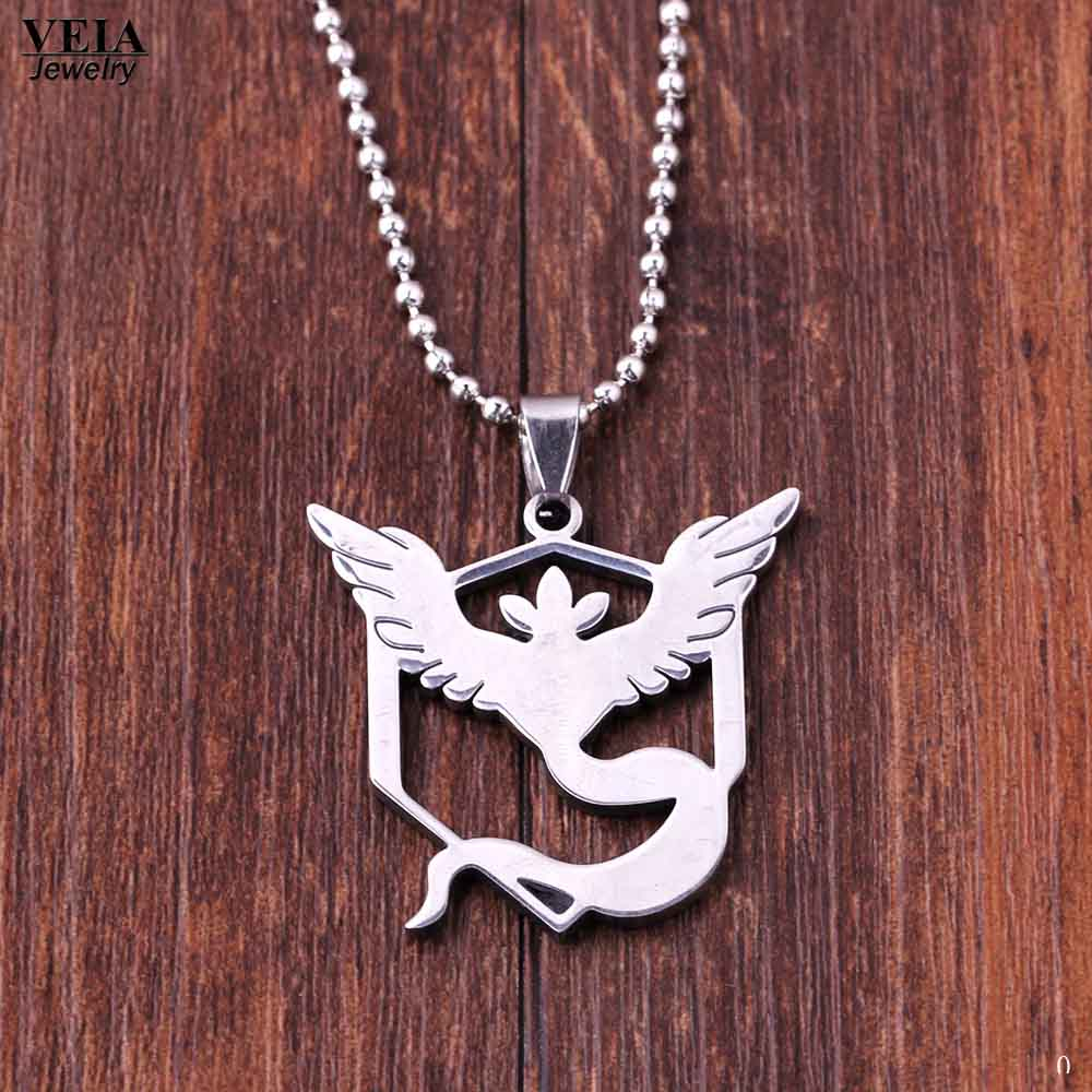 ae2c7048c0a34 US $1.99 |New Game Pokemon Go Stainless Steel Necklace Game Anime Team  Valor Mystic Instinct Logo Bead Chain Necklace for Women and Men-in Pendant  ...