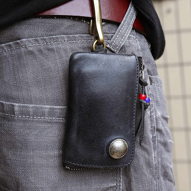 Suporte Chave Do Carro de Couro genuíno Chave Carteiras Homens Chaves Organizador Governanta X107 Cobre Zíper Caso Chave Saco Da Bolsa Da Bolsa Das Mulheres