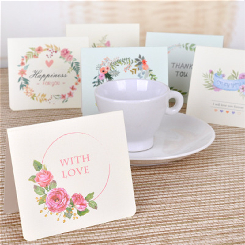 Creative Flowers Greeting Cards English DIY Christmas New Year's Day Thank You Greeting Cards Messages Notes Memo Pads Gifts