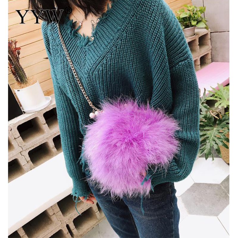 Feather Mini Bags For Women 2018 Fashion Cute Chain Evening Bag Purse With Chain Soft Clutch Wedding Party Crossbody Bag White