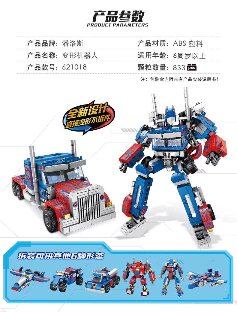 621018 Transformation technique 384 pièces 2in1 Optimus transformer premier Robot voiture gros camion blocs modèles bébé jouets - 3