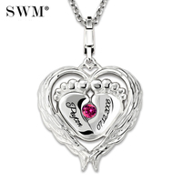 Cute Wholesale Costume Name Baby Feet Necklace With Birthstone Custom Letter Mommy's Angel Necklaces Sterling Silver 925 Chain