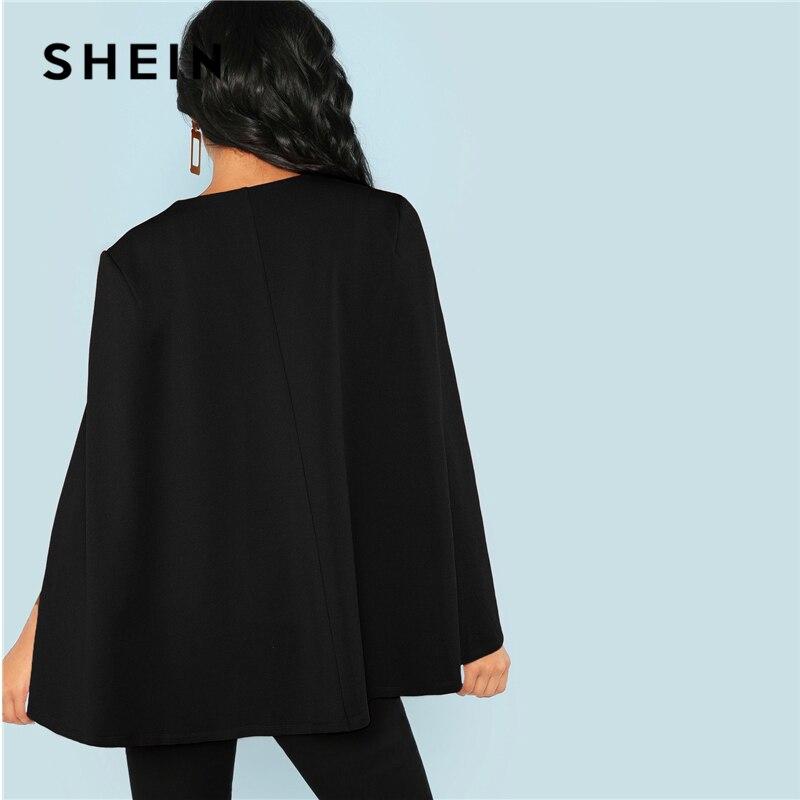 Shein Workwear Black Deep V Neck Surplice Neck Tie Waist Cloak Sleeve Cape Coat Streetwear Modern Lady Outerwear Coat New #2