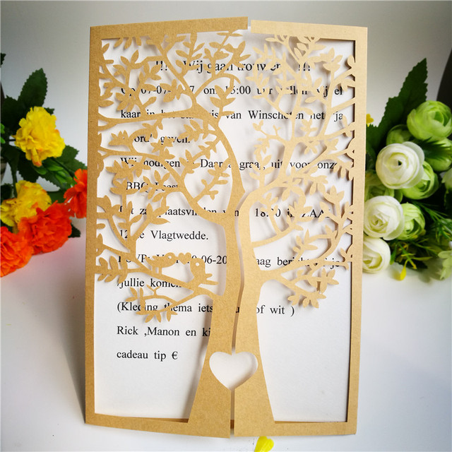 50pcs laser cut businessbirthdaywedding invitations cards folded chic tree romantic love heart