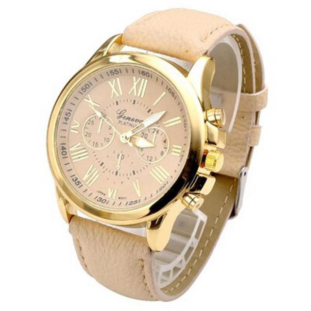 Zegarek damski GENEVA cyfry rzymskie trzy tarcze skóra PU beż