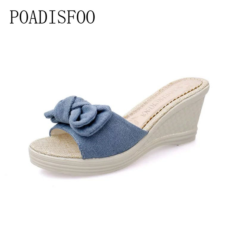 2018 Summer New Korean Sandals Slope With A Word Sandals Muffin Bottom Shoes Wild Bow Drop Sale.FZZ-9905 xczj sandals female 2018 summer new thick with bow tie lattice shoes korean students wild word buckle high heels