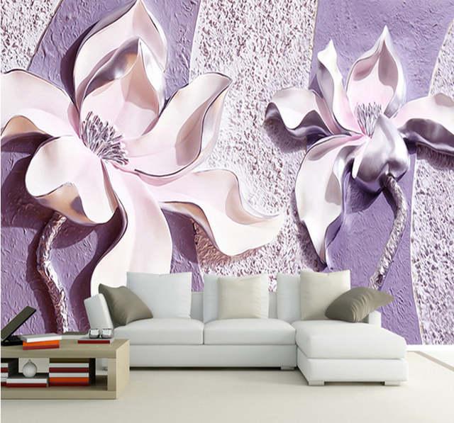 Online Shop Bacaz Large Murals Purple Flower Wallpaper Murals For