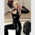 Hot 2 Way Zipper Sexy Women Faux Leather Bodysuit PVC Catsuit Erotic Wet Look Sexy Club Jumpsuit Dance Wear Erotic Latex Catsuit