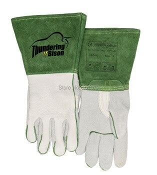 Leder Arbeit Handschuhe TIG MIG Korn Bison Leder Schweißen Handschuhe