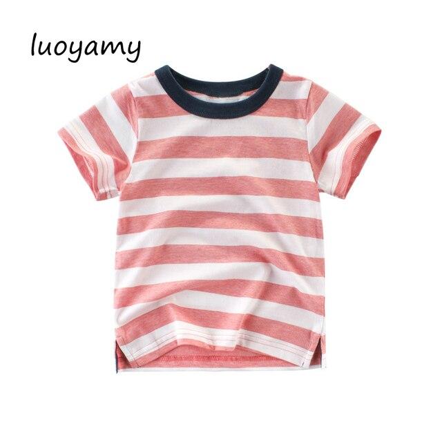 9be143a10c luoyamy Fashion Blue White Striped Choses T Shirt Cotton Children Kids Boys  Short Sleeve Shirt for Boy Girl Summer Kids 2-10T