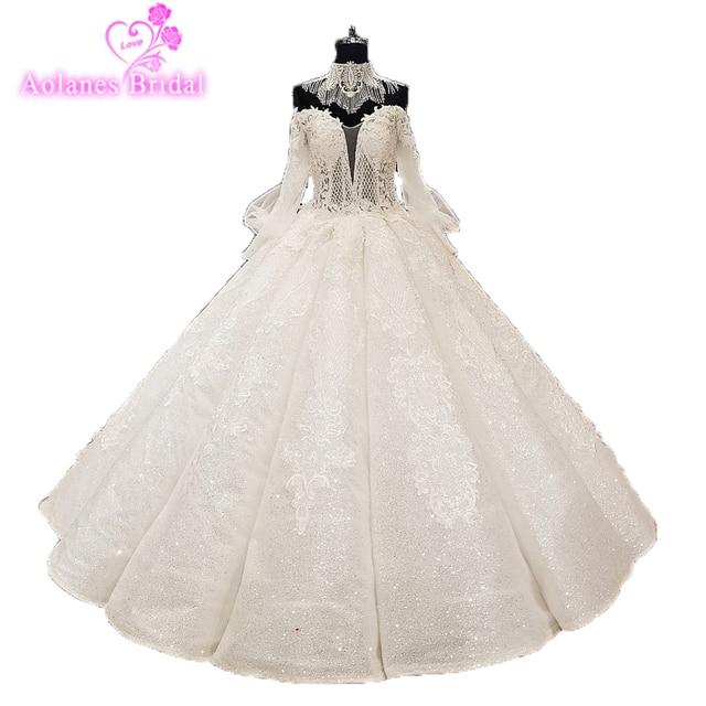 390af20fdba Vintage Vestido De Noiva 2018 Muslim Wedding Dresses Ball Gown Long Sleeves  Lace Dubai Arabic Wedding Gown Waves Bridal Dresses