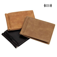 Rfid Blocking Credit Card Holder Wallet Money Bag Genuine Leather Mens Wallet&Metal Clip 2017 New Fashion Slim id Card Case Man