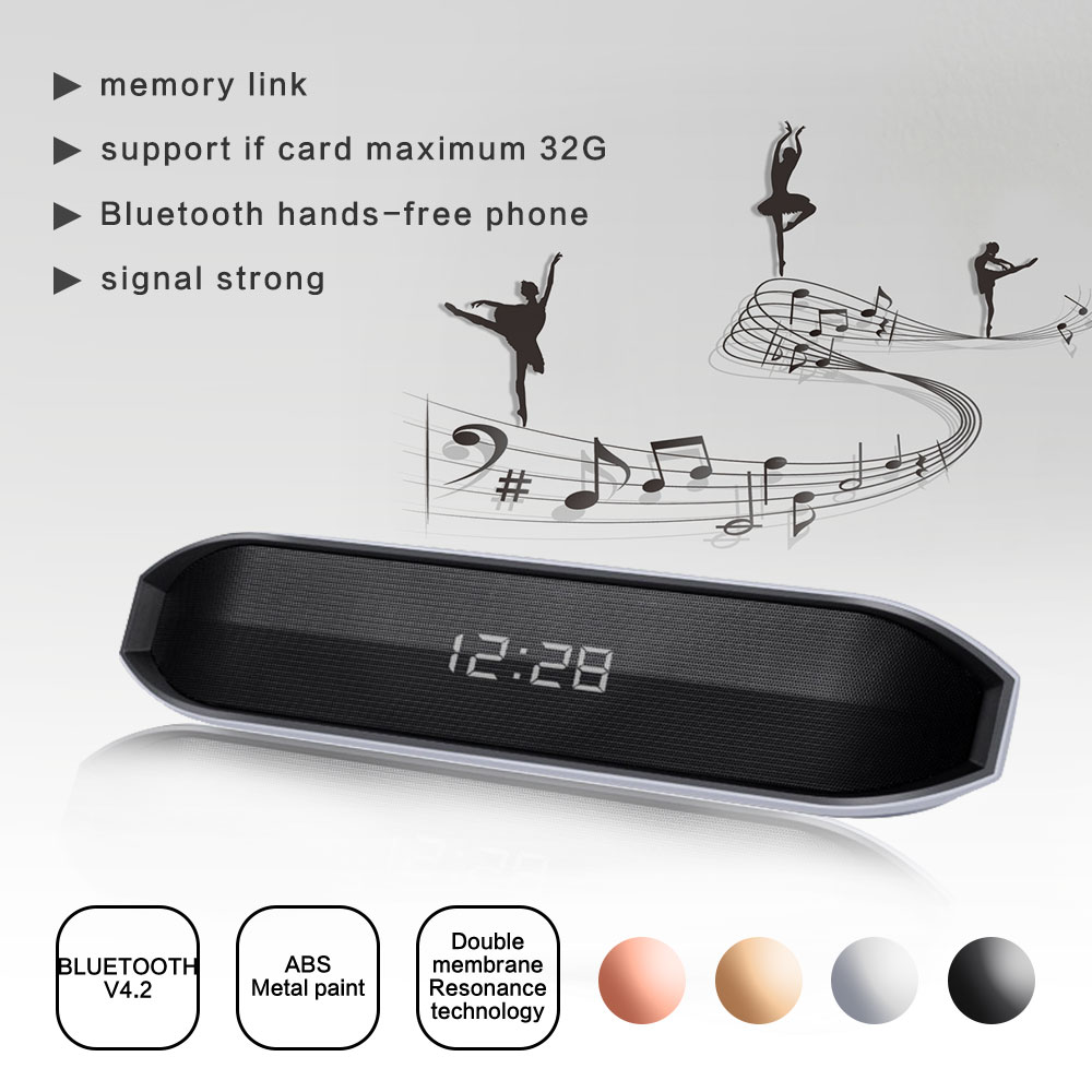 CY-03 Bluetooth Speaker LED Clock Display Support TF Card AUX FM Radio Subwoofer Soundbar Wireless Loudspeaker For Phone Xiaomi