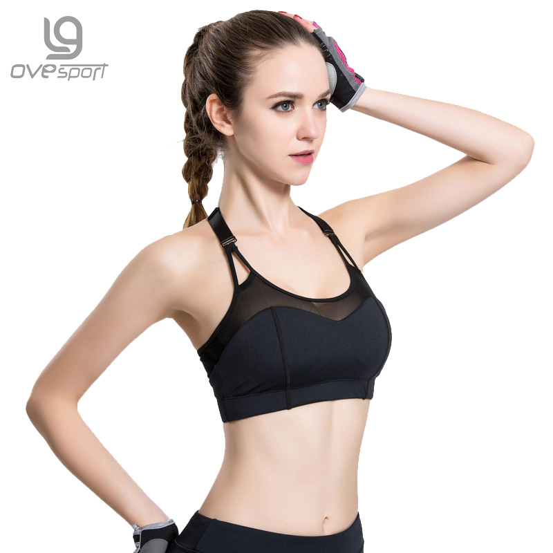 Ovesport Women's Professional Sport Running Bra Sexy Backless Workout Gym Tank Tops Black Mesh Patchwork Breathable Yoga Bras
