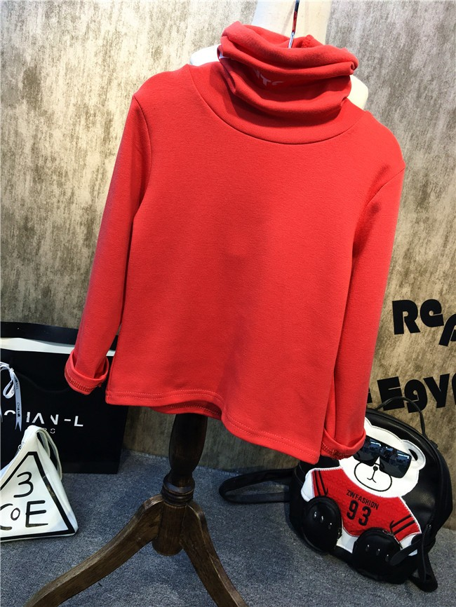 Children girls and boys candy color turtleneck bottoming t shirt (15)
