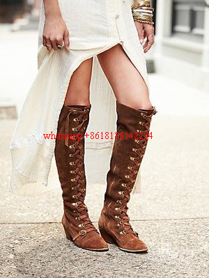 New Fall and Winter Boots the Old Style Lace-up Boots Women High-heeled Pointed Toe Knee High Boots Solid Suede Bottes Femmes