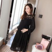 Spring Maternity Catenate Dresses Long Sleeve Pregnancy Maternity Chiffon Clothing Pleated Fashion Dress for Pregnant Women