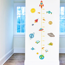 Solar System Rocket Height Measure Wall Stickers Kids Nusery Rooms Outer Space Sky Decals Growth Chart PVC Mural Decor Art