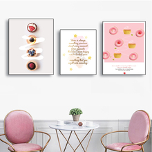 Laeacco Canvas Painting Calligraphy Macaron Sweet Dessert Posters and Prints Wall Artwork Print Bedroom Living Room Decor