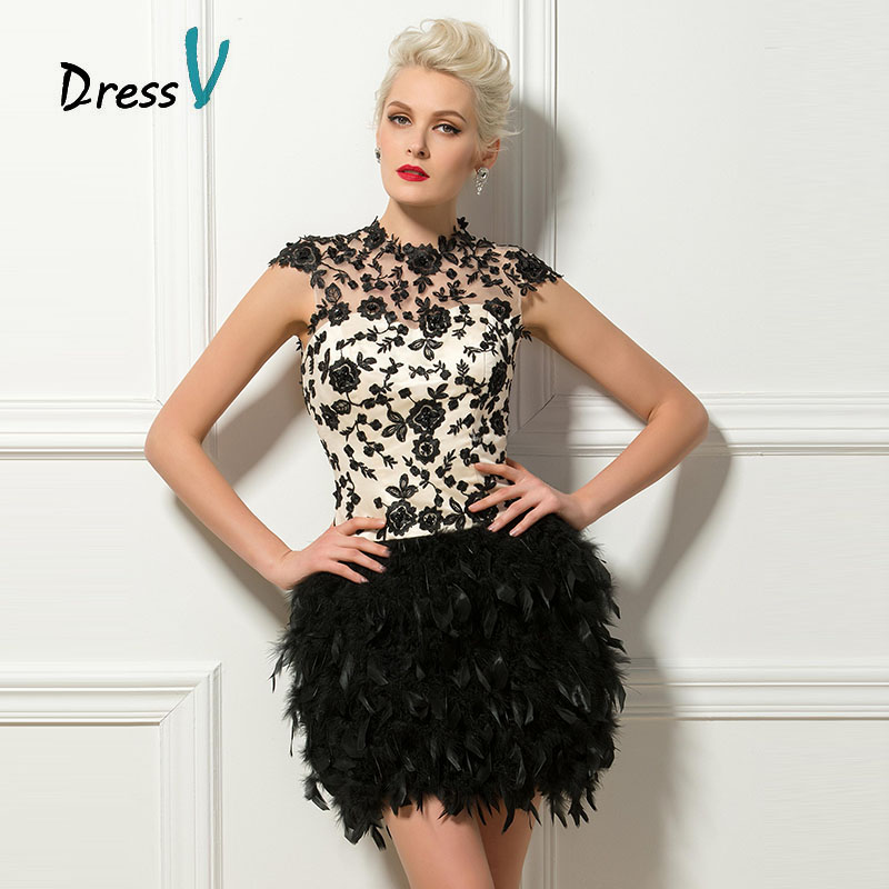 Dressv Black Short Feathers Cocktail Dresses Sexy Backless High Neck Cap Sleeves Lace Appliques