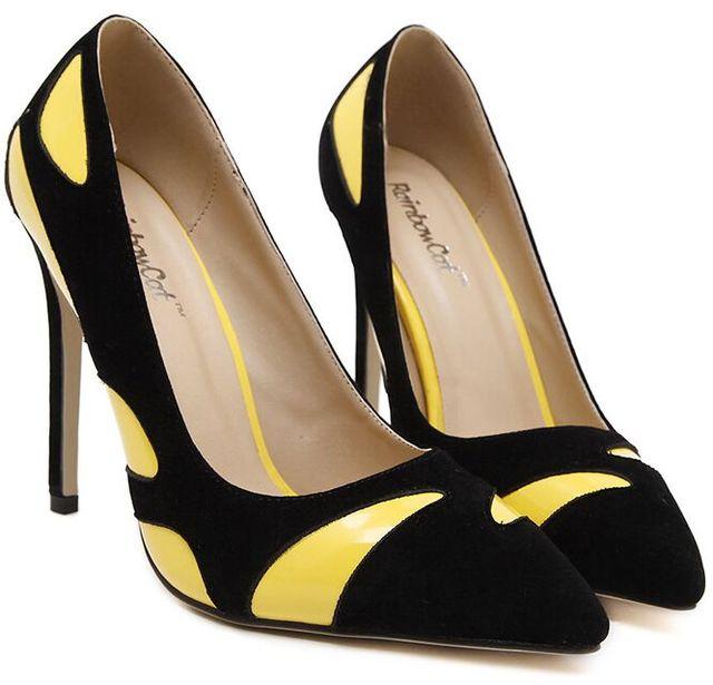 Size 4~10 Big Size Yellow Black Women Shoes Commuter High Heels Shoes Pumps  zapatos 1c1a144c4