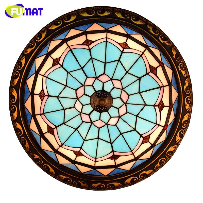 FUMAT Glaskunst Deckenleuchte Kreative Glas Beleuchtung Fr Wohnzimmer Glasmalerei LED E27 Barock Tiffany DeckenleuchtenChina