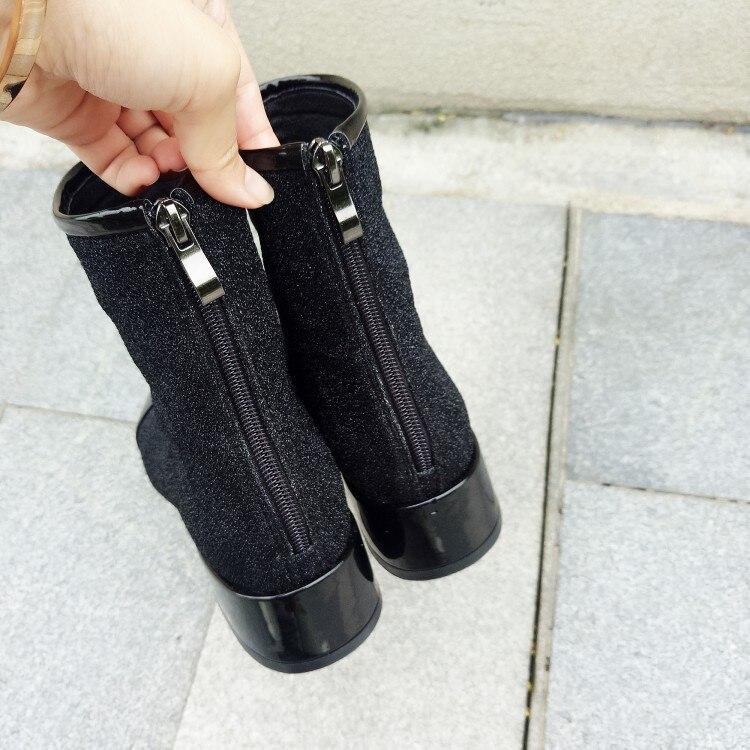 Mode Sac Argent De Bottes Femmes Black Sexy Chaussures Taille Confortable Grande Talons Kelly Élégant Épais Concise Courtes 2019 siver qwZrPYqx
