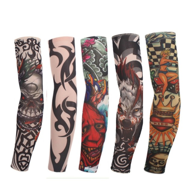 (10Pcs/Pack) Mixed 92%Nylon Elastic Fake Temporary Tattoo Sleeve Designs Body Arm Leg Stockings Tattoo For Cool Men Women
