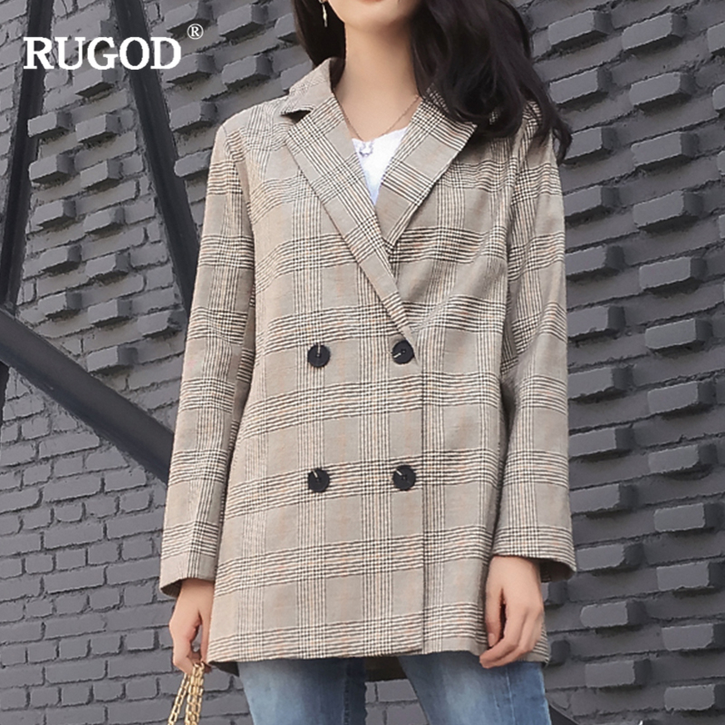 RUGOD Women Plaid Blazers And Jackets Femme Long Sleeve Work Wear Blazer Double Breasted Female Jacket Outerwear Blazer Feminino