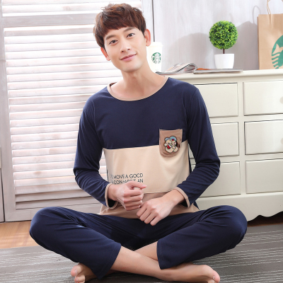 Man Pajamas WAVMIT LongCotton And Autumn Day Pajamas Mens Thin Section Leisure Time Home Furnishing Serve Male Will Code