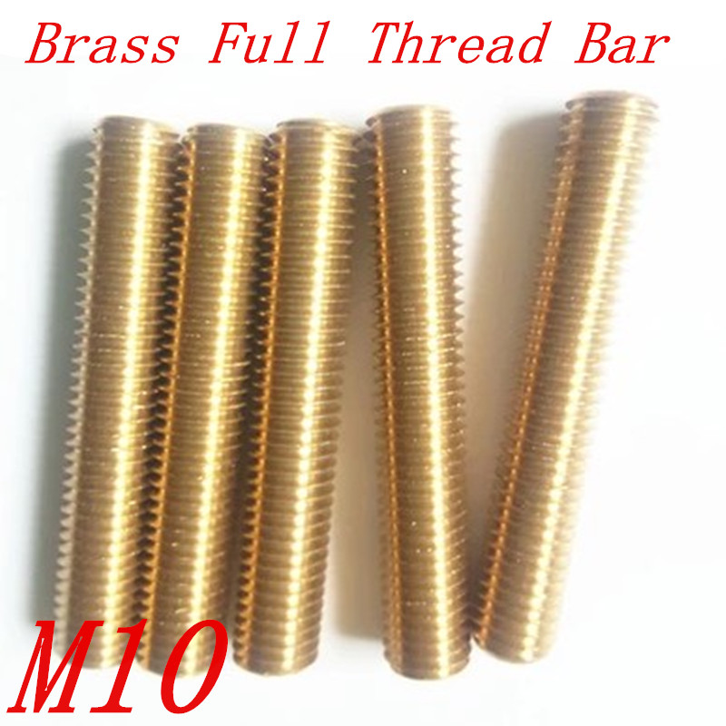 5pcs/Lot M10 Metric Brass Thread Rod Bar Copper Full Thread Stud length 100mm to 500mm