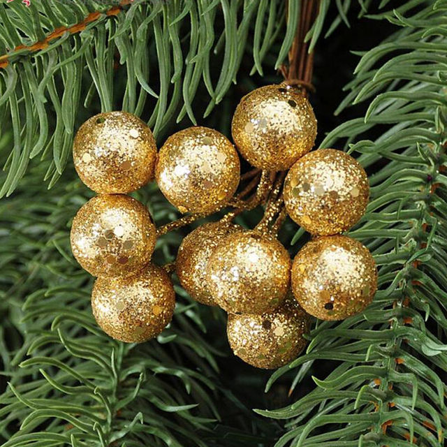 Us 0 56 46 Off 10pcs Lot Red Sliver Gold Christmas Tree Hanging Balls Hanging Baubles Fruit Ball Party Decoration Ornament In Pendant Drop