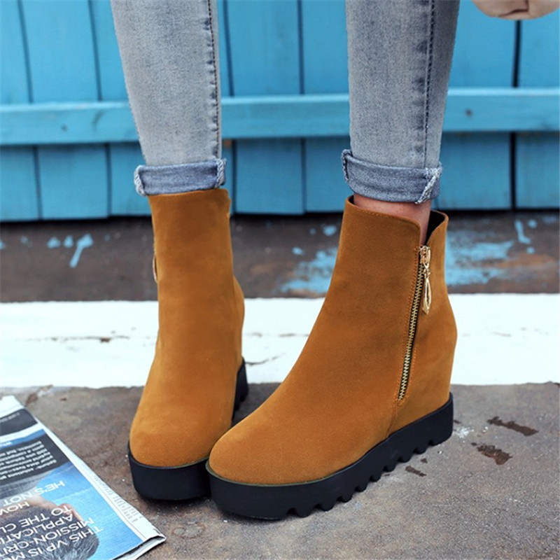 Plus size 34-43 women Ankle boots fashion Autumn winter platform woman Height Increasing boots Zip Riding Equestrian Warm Shoes vallkin ankle rivets wedges women winter autumn boots for women platform shoes woman motorcycle size 34 43