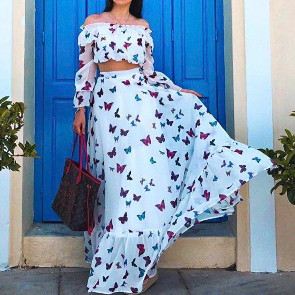 9b9d733bd0f2 Missord 2019 mujeres verano Sexy fuera del hombro sin espalda estampado  Vestidos Mujer dos piezas conjunto Maxi vestido elegante FT18834