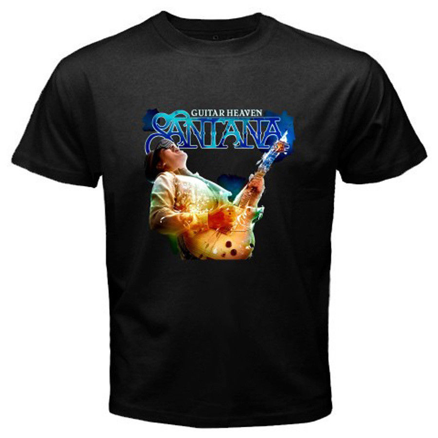 New SANTANA Guitar Heaven Rock Blues Guitar Men's Black T-Shirt Size S to 3XLMens T Shirt Cotton