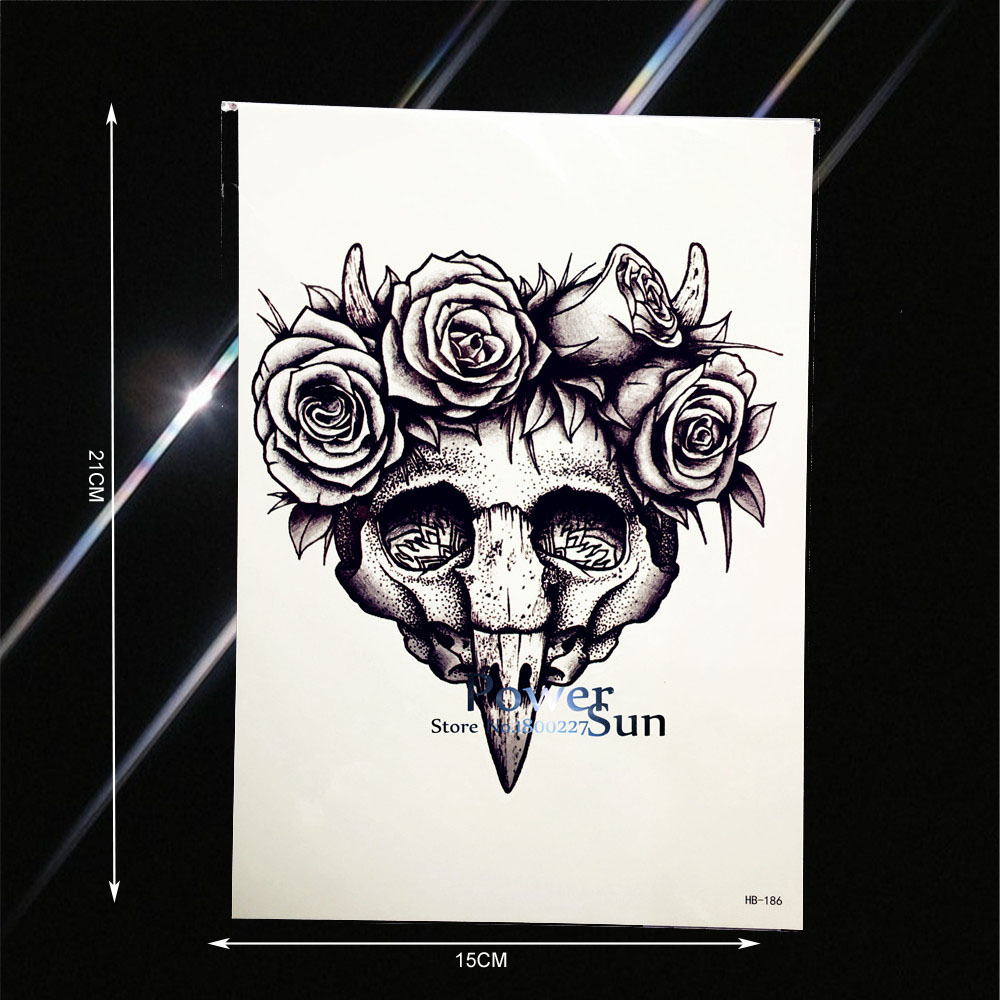 c07e8cb5955ee Unique Wooden Skull Pattern Temporary Tattoo Sticker Waterproof Flower Arm  Tatoo Decal Fake Body Back Art Tattoo Stickers PHB186