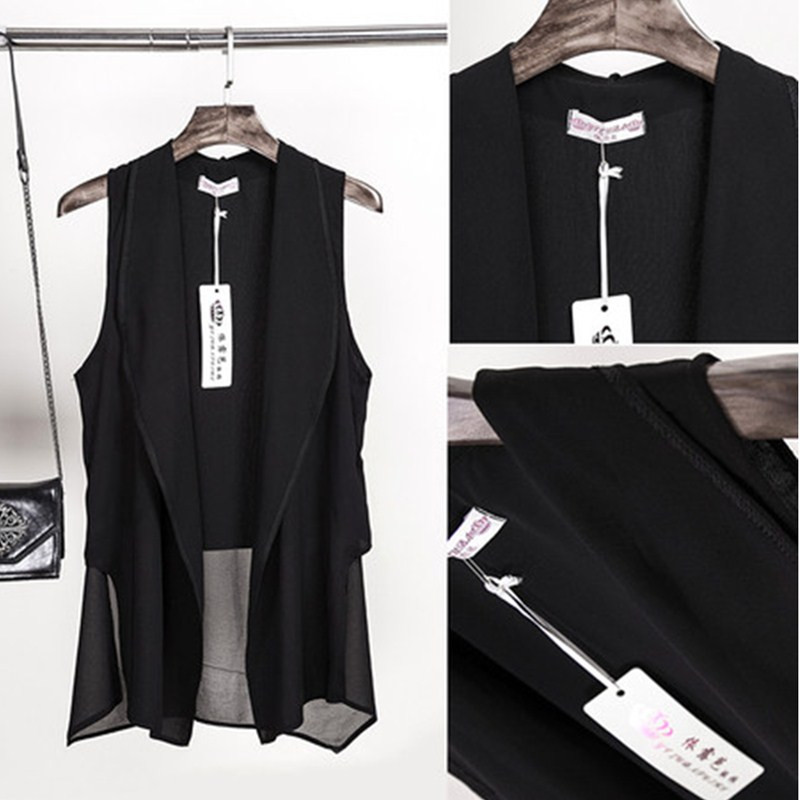2016 long vest jacket women sleeveless blazer feminino vests famous brand veste femme fashion. Black Bedroom Furniture Sets. Home Design Ideas