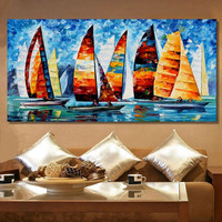 Home Decor Wall Art Picture Hand Painted Abstract Colorful Sailboat Oil Painting on Canvas Acrylic Yacht Paintings Palette Knife