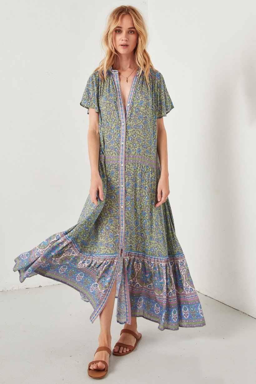 cb1988ceb5f97 BOHOFREE 2019 Floral Long Gown Bohemian Kimono Dress Femmes Casual V-neck  JASMINE FLUTTER SLEEVE MAXI Dress Beach Dress