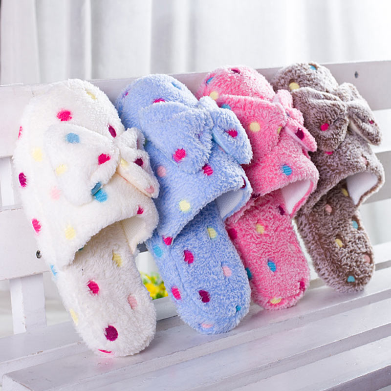 Women Shoes Winter Slippers Furry Fluffy Slippers Butterfly-knot Ladies Slides Home Shoes Indoor Warm Plush Flat Flip Flops winter indoor slippers women warm plush home shoes cute cartoon unicorn slippers fluffy furry soft unicornio house slides ladies