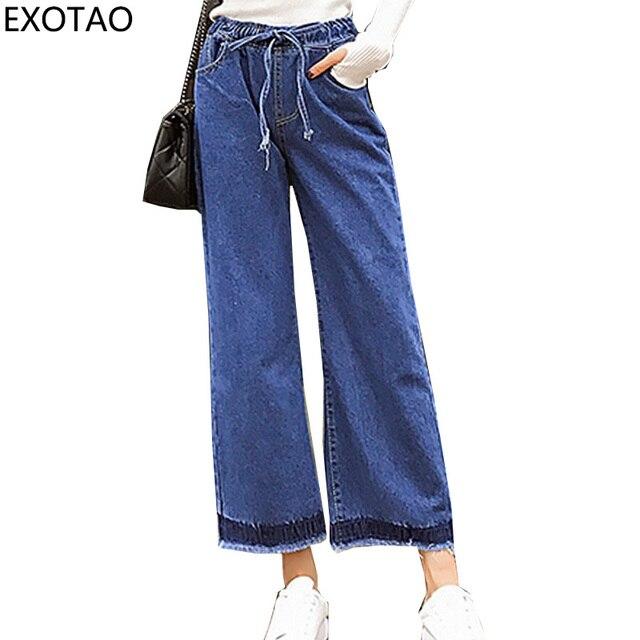 b50a4d687c EXOTAO 2017 Invierno Jeans para Mujeres pantalones Anchos de La Pierna  Pantalones Elásticos Femeninos del Dril