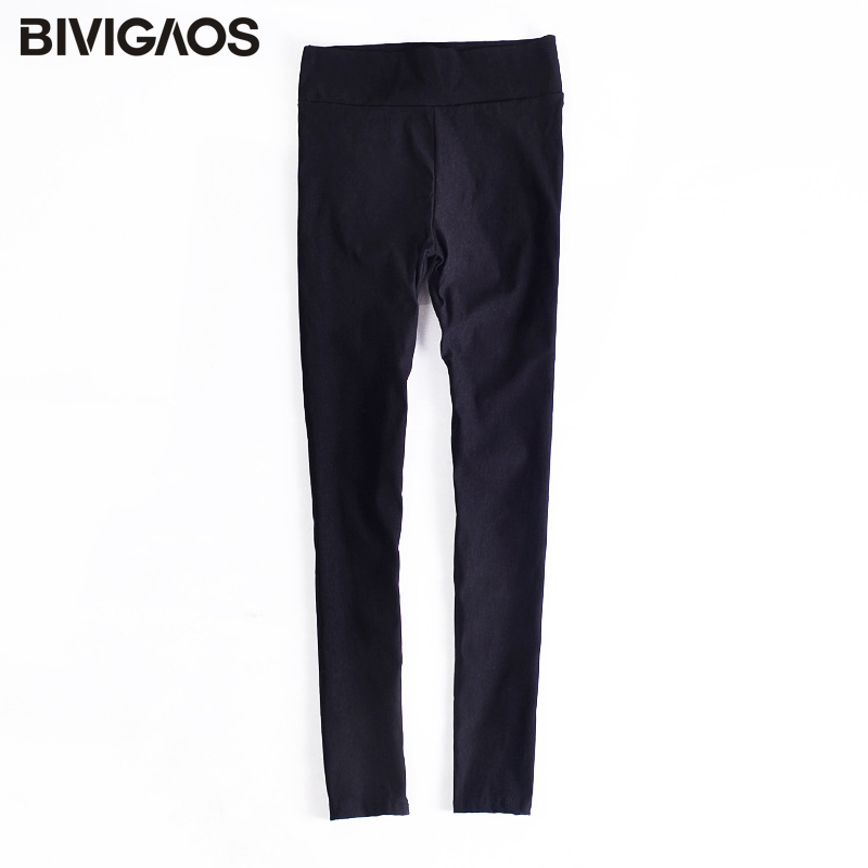 BIVIGAOS Spring Summer Fashion Womens Black Casual Elastic High Waist Leggings Trousers Pocket Pencil Pants Skinny Slim Female 6