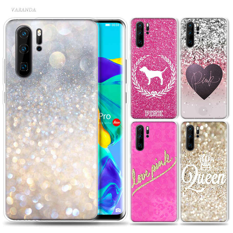 My Pink Glitter Print Case for Huawei P20 P30 P Smart Z Plus 2019 Nova 5 5i P10 P9 Mate 10 20 lite Pro Silicone Phone Bags Capa