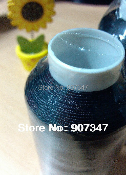 Free shipping black color polyester embroidery machine thread 5000m, 120D/2 for commercial embroidery machines