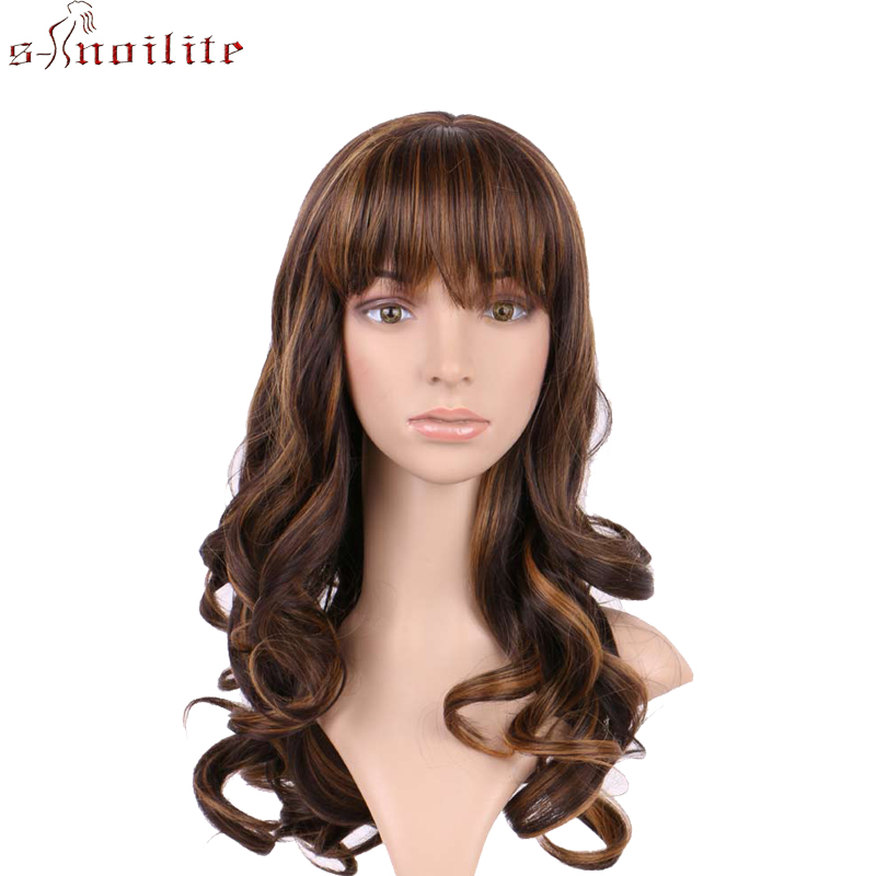 S-noilite Long Wigs With Bangs For Women Straight Curly Glueless Wig Synthetic Wigs BOB Hairstyle