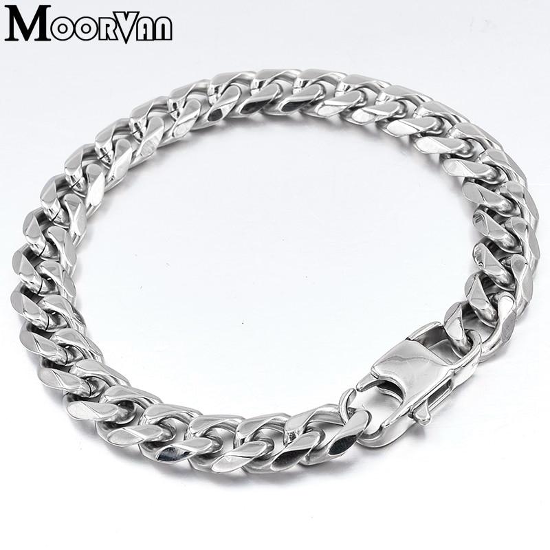 Moorvan Jewelry Men Bracelet Cuban links & chains Stainless Steel Bracelet for Bangle Male Accessory Wholesale B284 29