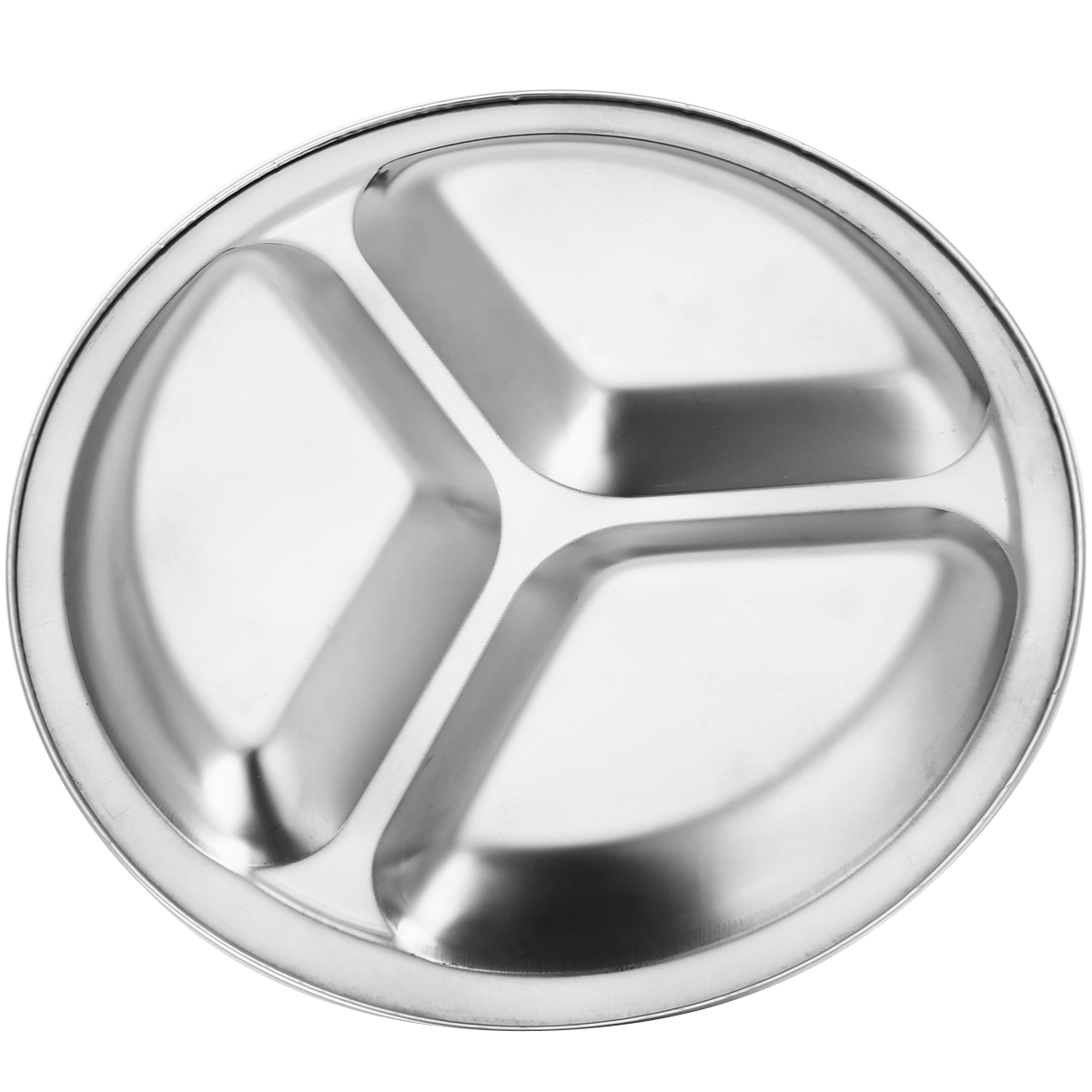 22//24//26cm Silver Stainless Steel 3 Sections Round Divid Dish Snack Dinner Plate